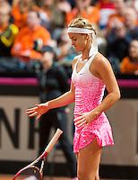 Februari 08, 2015, Apeldoorn, Omnisport, Fed Cup, Netherlands-Slovakia,  Anna Karolína Schmiedlová (SLO)is frustrated<br /> Photo: Tennisimages/Henk Koster