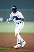Luis Robert (21) of the Winston-Salem Dash takes his lead off of first base against the Wilmington Blue Rocks at BB&T Ballpark on April 16, 2019 in Winston-Salem, North Carolina. The Blue Rocks defeated the Dash 4-3. (Brian Westerholt/Four Seam Images)