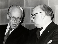 Montreal (QC) CANADA  January 11 , 1984 file photo - Lawrence Hanigan, STCUM (now STM) President (L) talk with  Jean Drapeau, Montreal Mayor at the inauguration of the metro orange line extension to Du College  station