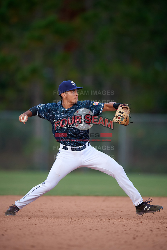 Miguel Soto (23) while playing for Padres Scout Team/Scorpions based out of Altamonte Springs, Florida during the WWBA World Championship at the Roger Dean Complex on October 21, 2017 in Jupiter, Florida.  Miguel Soto is a shortstop / outfielder from Kissimmee, Florida who attends TNXL Academy.  (Mike Janes/Four Seam Images)