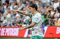 KANSAS CITY, KS - AUGUST 10: Omar Fernández #25 Club Leon celebrates a goal during a game between Club Leon and Sporting Kansas City at Children's Mercy Park on August 10, 2021 in Kansas City, Kansas.