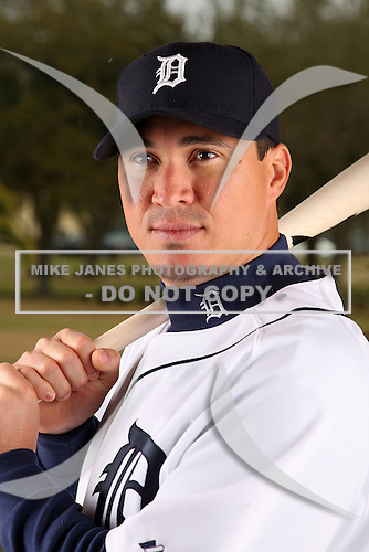 February 27, 2010:  Outfielder Magglio Ordonez (30) of the Detroit Tigers poses for a photo during media day at Joker Marchant Stadium in Lakeland, FL.  Photo By Mike Janes/Four Seam Images