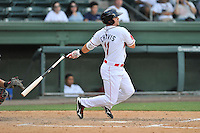 Third baseman Michael Chavis (11) of the Greenville Drive bats in a game against the Rome Braves on Sunday, July 31, 2016, at Fluor Field at the West End in Greenville, South Carolina. Rome won, 6-3. (Tom Priddy/Four Seam Images)