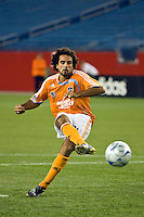 Houston Dynamo forward Dwayne De Rosario (14) during the penalty kick shootout. The New England Revolution defeated the Houston Dynamo 2-2 (6-5) in penalty kicks in the SuperLiga finals at Gillette Stadium in Foxborough, MA, on August 5, 2008.