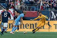 FOXBOROUGH, MA - SEPTEMBER 29: Heber #9 of New York City FC collects a rebound and Matt Turner #30 of New England Revolution recovers during a game between New York City FC and New England Revolution at Gillette Stadium on September 29, 2019 in Foxborough, Massachusetts.