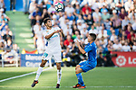 Achraf Hakimi of Real Madrid (L) fights for the ball with Francisco Portillo Soler of Getafe CF (R) during the La Liga 2017-18 match between Getafe CF and Real Madrid at Coliseum Alfonso Perez on 14 October 2017 in Getafe, Spain. Photo by Diego Gonzalez / Power Sport Images