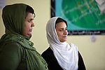 6 June 2013, Turahi Girls School, Mazar-i-Sharif, Afghanistan.  Shakila Noori (left) , Headmistress at Turahi Girls High School in Mazar-i-Sharif, with student Sewita Asal Zada (18) in her class. Much of the funding for the school including the construction of the main building was provided by  the Education Quality Improvement Program (EQUIP). The school is benefitting from EQUIP whose objective is to increase access to quality basic education, especially for girls. School grants and teacher training programs are strengthened by support from communities and private providers.  Picture by Graham Crouch/World Bank