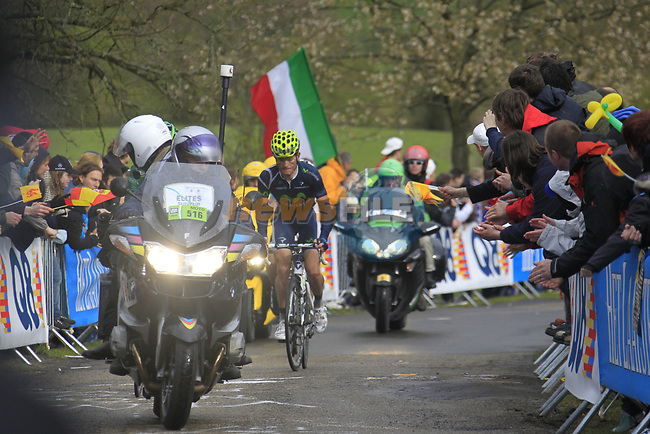 Pierre Rolland (FRA) Team Europcar and Vasil Kiryienka (BLR) Team Movistar lead the way up the Cote de la Redoute during the 98th edition of Liege-Bastogne-Liege, running 257.5km from Liege to Ans, Belgium. 22nd April 2012.  <br /> (Photo by Eoin Clarke/NEWSFILE).