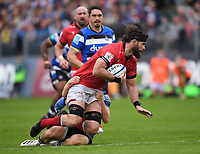 25th September 2021; The Recreation Ground, Bath, Somerset, England; Gallagher Premiership Rugby, Bath versus Newcastle Falcons; Greg Peterson of Newcastle Falcons is tackled by Ollie Fox of Bath