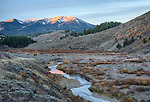 Idaho, Eastern, The Caribou Mountains and McCoy creek in the morning light of autumn.