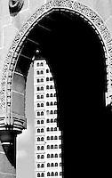 View through the famous Mumbai Gateway, or the Gateway to India, Mumbai India