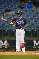 Mississippi Braves Cristian Pache (16) during a Southern League game against the Jacksonville Jumbo Shrimp on May 4, 2019 at Trustmark Park in Pearl, Mississippi.  Mississippi defeated Jacksonville 2-0.  (Mike Janes/Four Seam Images)