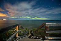 aurora thru the clouds, M28 Beach Stairs