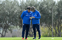 20190226 - LARNACA , CYPRUS :  illustration picture shows the Italian assistant coach Attilio Sorbi with the head coach Milena Bertolini during a Matchday -1 training prior to their game against the women team of Mexico , on Tuesday 26 February 2019 at the Alpha Sports Grounds in Larnaca , Cyprus . This will be the first game in group B for Belgium during the Cyprus Womens Cup 2019 , a prestigious women soccer tournament as a preparation on the European Championship 2021 qualification duels. PHOTO SPORTPIX.BE | DAVID CATRY