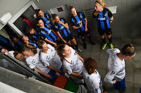 players of both teams pictured waiting to enter the pitch ahead of a female soccer game between Club Brugge Dames YLA and KRC Genk on the fifth matchday of the 2021 - 2022 season of Belgian Scooore Womens Super League , saturday 2 october 2021 in Aalter , Belgium . PHOTO SPORTPIX   DAVID CATRY