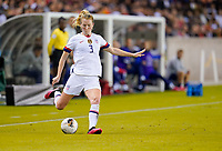 HOUSTON, TX - FEBRUARY 03: Samantha Mewis #3 of the United States sends a cross ball into the box during a game between Costa Rica and USWNT at BBVA Stadium on February 03, 2020 in Houston, Texas.