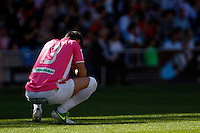 Granada's goalkeeper Roberto dejected during La Liga BBVA match. April 14, 2013.(ALTERPHOTOS/Alconada)
