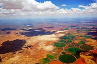 Felder im Kreis in der Karoo bei Oppermans: AFRIKA, SUEDAFRIKA, 17.01.2014: Felder im Kreis in der Karoo bei Oppermans, ein Bewaesserungskanal zwischen dem Oranje River und dem Riet bringt leben in die Wueste Karoo