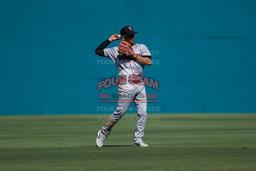 Inland Empire 66ers shortstop Leonardo Rivas (3) during a California League game against the Lake Elsinore Storm on April 14, 2019 at The Diamond in Lake Elsinore, California. Lake Elsinore defeated Inland Empire 5-3. (Zachary Lucy/Four Seam Images)