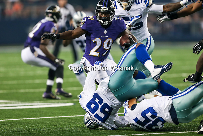 Dallas Cowboys tackle Doug Free (68) and Baltimore Ravens running back Justin Forsett (29) in action during the pre-season game between the Baltimore Ravens and the Dallas Cowboys at the AT & T stadium in Arlington, Texas. Baltimore defeats Dallas  37-30.
