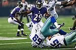 Dallas Cowboys tackle Doug Free (68) and Baltimore Ravens running back Justin Forsett (29) in action during the pre-season game between the Baltimore Ravens and the Dallas Cowboys at the AT & T stadium in Arlington, Texas. Baltimore defeats Dallas  37-30.