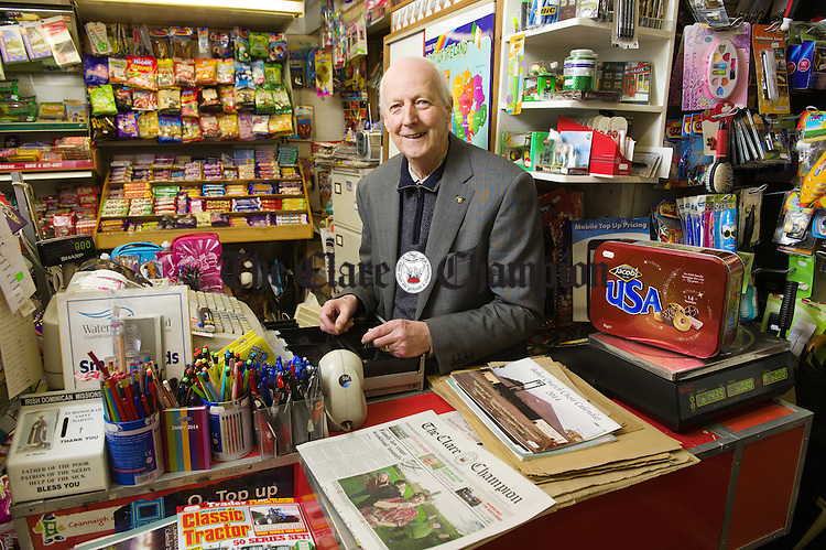 Jimmy Whelan of Whelan's shop in Killaloe who is celebrating 50 years in the retail business. Photograph by John Kelly