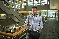 Accounting Senior Osman Aden, photographed in UAA's Rasmuson Hall.