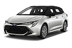 2019 Toyota Corolla-Touring-Sports Hybrid-Style 5 Door Wagon Angular Front automotive stock photos of front three quarter view