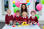 Stephanie Egan with her Junior Infants in Knockaderry NS Farranfore on Tuesday l-r: Bryan Daly, Julie Smyth, Deirbhile Balmer and Caroline Fleming
