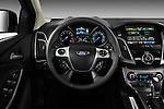 Steering wheel view of a 2012 Ford Focus Hatchback Titanium <br />