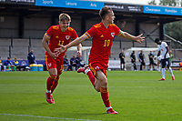 3rd September 2021; Newport, Wales:  Luke Harris of Wales celebrates as he scores during the U18 International Friendly  match against England at Newport Stadium in Newport, Wales.