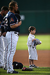 Reno Aces listen to the National Anthem at Greater Nevada Field in Reno, Nev., on Sunday, July 17, 2016.<br />