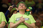 Mar. 31, 2014; Irish fan watches during the regional final against Baylor in the 2014 NCAA Tournament at the Purcell Pavilion. Notre Dame won 88-69. Photo by Barbara Johnston/University of Notre Dame