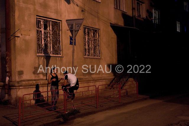 Odessa , Ukraine.August 22, 2005 ..Central Odessa at night...
