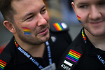 © Joel Goodman - 07973 332324 . 26/08/2017. Manchester , UK. Police officers at the 2017 Pride parade through Manchester City Centre . The annual festival , which is the largest of its type in Europe , celebrates LGBT life . Photo credit : Joel Goodman