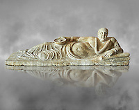 Etruscan Hellenistic style cinerary, funreary, urn cover with a man,  National Archaeological Museum Florence, Italy , grey art background