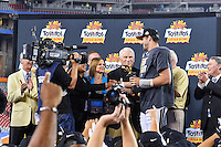 January 01, 2014:<br /> <br /> UCF Knights quarterback Blake Bortles #5 is presented with award at the conclusion of Tostitos Fiesta Bowl at University of Phoenix Stadium in Scottsdale, AZ. UCF defeat Baylor 52-42 to claim it's first ever BCS Bowl trophy.