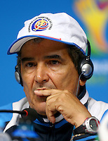 Costa Rica coach Jorge Luis Pinto speaks during the press conference ahead of tomorrow's fixture vs Greece