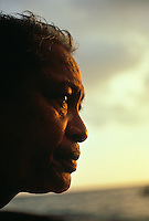 Mau Pigilug or master navigator looking out into the ocean at Hanaunau