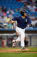 Lake County Captains third baseman Jorma Rodriguez (47) runs to first base during the second game of a doubleheader against the West Michigan Whitecaps on August 6, 2017 at Classic Park in Eastlake, Ohio.  West Michigan defeated Lake County 9-0.  (Mike Janes/Four Seam Images)