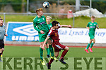 Aerial battle between Kerry's John Carmody and Ryan Corcoran of Galway in the U19 Soccer league on Sunday