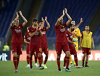 Football, Serie A: AS Roma - Sassuolo, Olympic stadium, Rome, September 15, 2019. <br /> Roma's players celebrates after winning 4-2 the Italian Serie A football match between Roma and Sassuolo at Olympic stadium in Rome, on September 15, 2019.<br /> UPDATE IMAGES PRESS/Isabella Bonotto