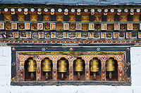 prayer wheels in the Thimpu Dzong, Bhutan