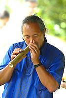 Hawaiian man playing a bamboo nose flute, a musical instrument, at Ulupo heiau hoike festival, Kailua, Windward Oahu