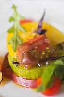 Europe/France/Rhône-Alpes/74/Haute-Savoie/Évian-les-Bains:   Les tomates à la tomate, Ananas, Red, Green,  recette de  Patrice Vander  chef des restaurants de Hôtel: Evian Royal Resort