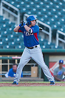 AZL Rangers right fielder Beder Gutierrez (8) at bat during an Arizona League playoff game against the AZL Indians 1 at Goodyear Ballpark on August 28, 2018 in Goodyear, Arizona. The AZL Rangers defeated the AZL Indians 1 7-4. (Zachary Lucy/Four Seam Images)