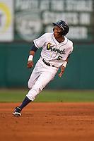 Cedar Rapids Kernels designated hitter Jorge Polanco #5 runs during a game against the Lansing Lugnuts at Veterans Memorial Stadium on April 29, 2013 in Cedar Rapids, Iowa. (Brace Hemmelgarn/Four Seam Images)