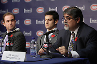 Montreal  (Quebec) CANADA - Nov 2011 File Photo - Hockey Player Max Pacioretty annonce he <br />  return to Hockey<br />  after a major injury.  -  Geoff Molson (L), <br /> Max Pacioretty  (M)<br /> , Dr Vassili Papadopoulos