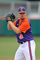 Freshman pitcher Zach Goodman (42) of the Clemson Tigers of Kennesaw, Ga., in a fall practice intra-squad Orange-Purple scrimmage on Sunday, September 27, 2015, at Doug Kingsmore Stadium in Clemson, South Carolina. (Tom Priddy/Four Seam Images)