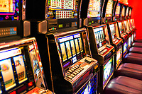 Row of slot machines.